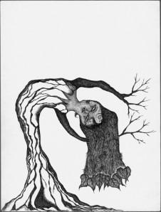 bending tree woman