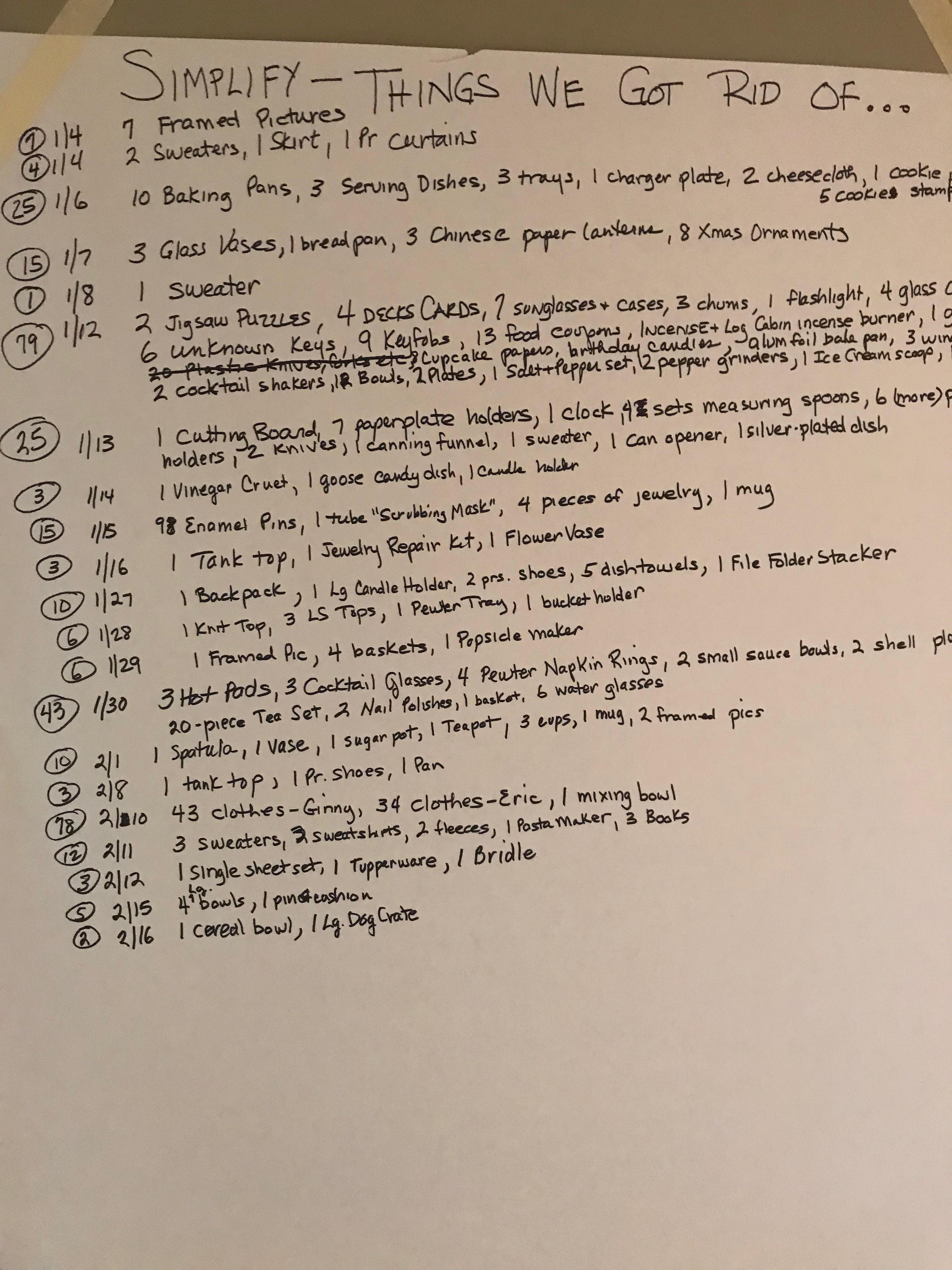 My list 02-17-19